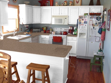 White cabinets with tan/brown counter.
